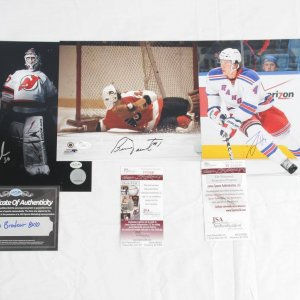 3 Hockey Signed 8x10 Photos - Parent, Brodeur & Del Zotto - COA JSA