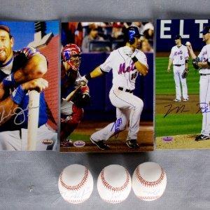 Six Signed New York Items - 8x10 Photo Trio & Baseball Trio - Howard Johnson