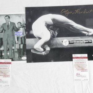 Olympic Gymnastics Lot - Olga Korbut Signed 11x14 & 8x10 Photos- COA JSA