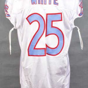 2009 Tennessee Titans - Lendale White Legacy Jersey Game-Worn Against the Patriots Snow Storm Game -  (NFL Auctions Sticker)