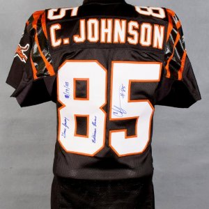 "2003 Bengals Chad Johnson (Chad Ocho Cinco)  Black Game-Worn Jersey  Inscribed ""Game Jersey Baltimore Ravens 10/19/03"" w/Player Letter"