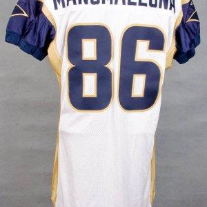 2001 Rams Brandon Manumaleuna White Game-Worn Jersey Multiple Game Use