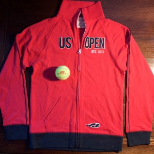 A Serena Williams Game-Used 2014 US Open Players Only Jacket & Match Ball.  Gifted to Serena by USTA/US Open Organizers.  (2014 Women's Singles Champion).