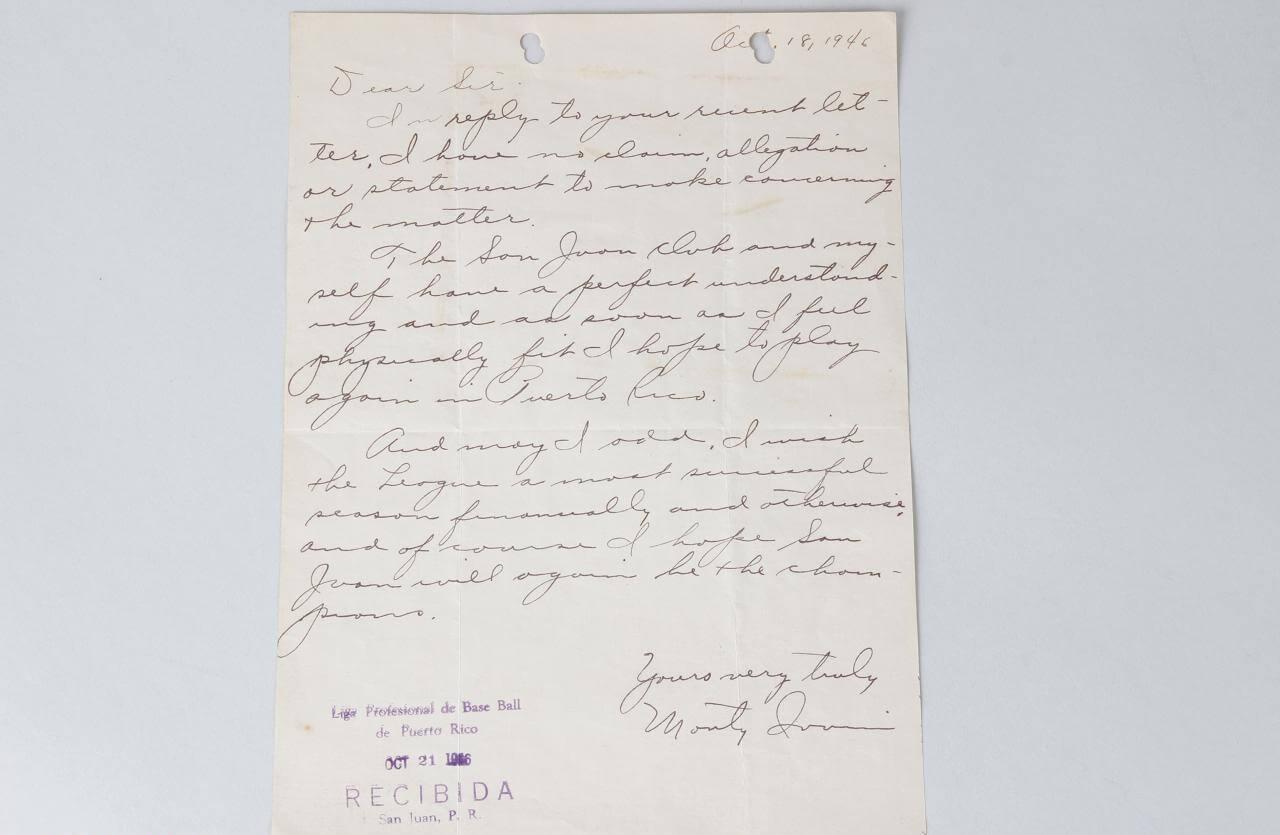 1946 Monte Irvin Signed Letter Negro Leagues Newark Eagles - COA JSA