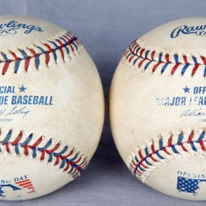 2002 Opening Day Game Used Bud Selig Official MLB Baseballs (2)