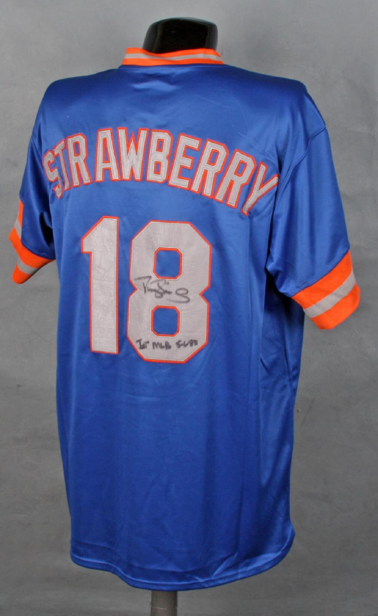 hot sale online 2b192 bf669 Darryl Strawberry Autographed #18 Cooperstown Authentic Collection Jersey  with Signing Photograph