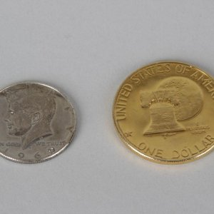 Dwight Eisenhower 1776-1976 24kt Gold Plated Bicentennial Coin & 1969 S John Kennedy Half Dollar