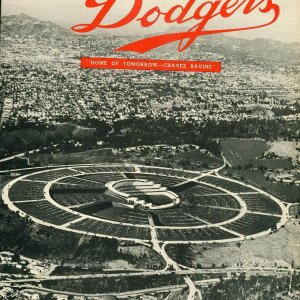 1958 Dodgers First Series in L.A. Program &  Artist't Conception Of Chavez Ravine Vintage Photo Danny Goodman Collection