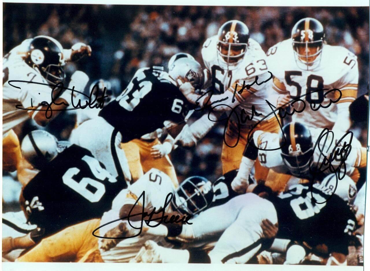 Steel Curtain Steelers Signed Dwignt White ,Fats Homes, Joe Greene ,L.C.Greenwood ,Jack Lambert 8x10 Color Photo