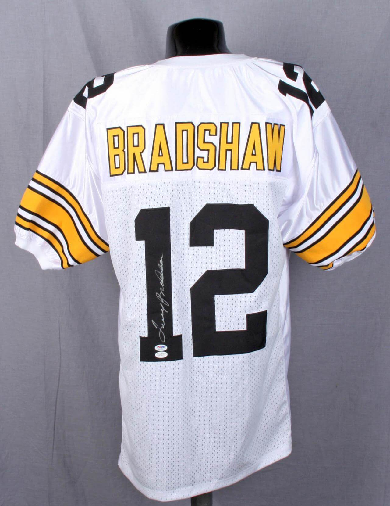 huge selection of 36044 a3f26 Steelers Terry Bradshaw Signed White Jersey PSA & JSA