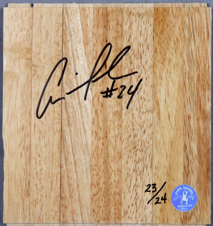 76ers - Andre Iguodala Signed & Inscribed # 24 Wood Floor - COA