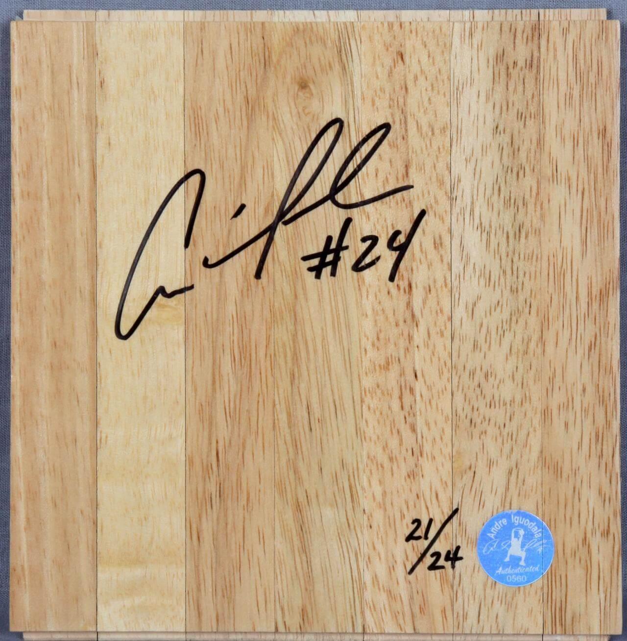 Andre Iguodala 76ers Signed Insribed # 24 Wood Floor Player's Hologram & Letter