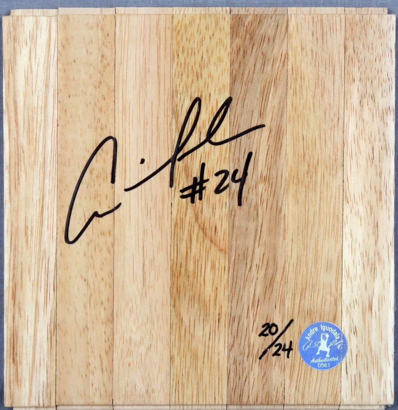 Golden State Warriors – Andre Iguodala Signed Wood Basketball Floor (Player's Hologram & COA)