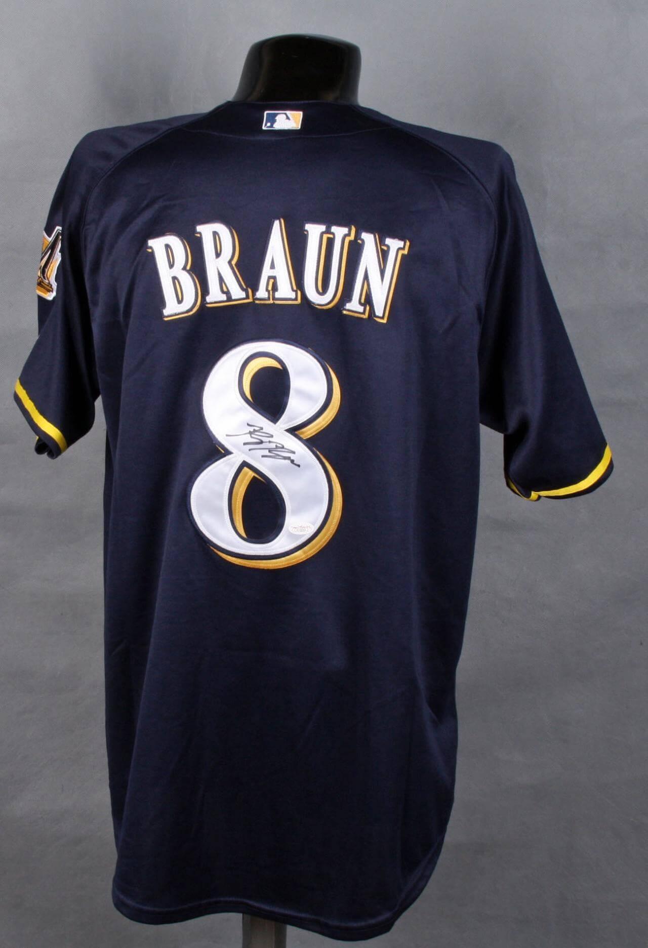 Ryan Braun Signed Jersey Brewers - COA JSA
