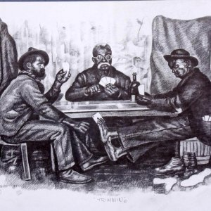 "Three Guys Playing Cards Artwork Charcoal Drawing - Titled ""Trimmin"" by Pittsburgh Artist George Gist From Original Teeny Harris Print"