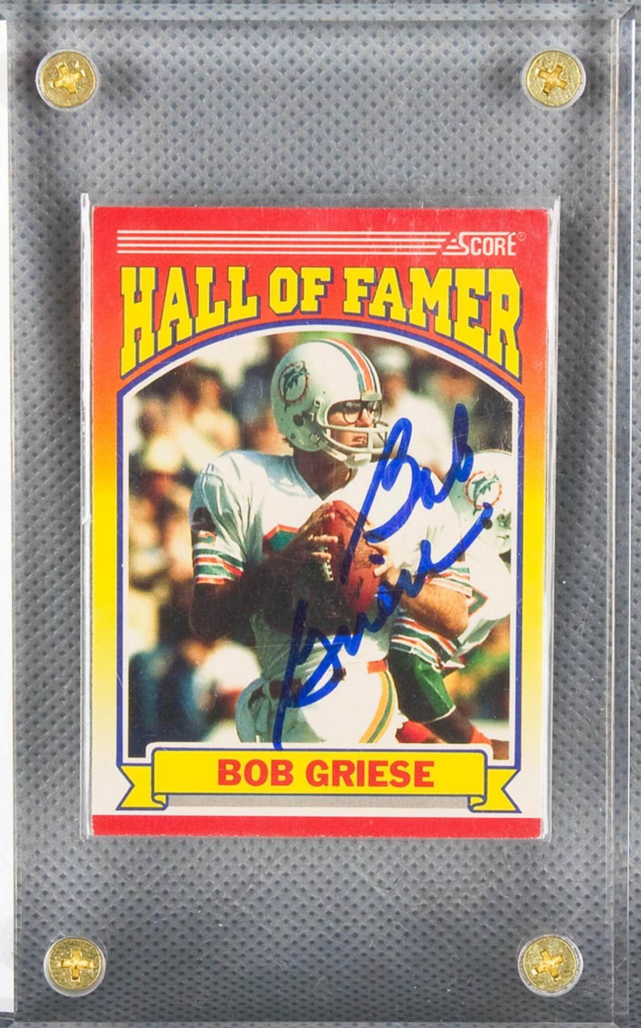 1990 HOF Card Signed by Dolphins Bob Griese