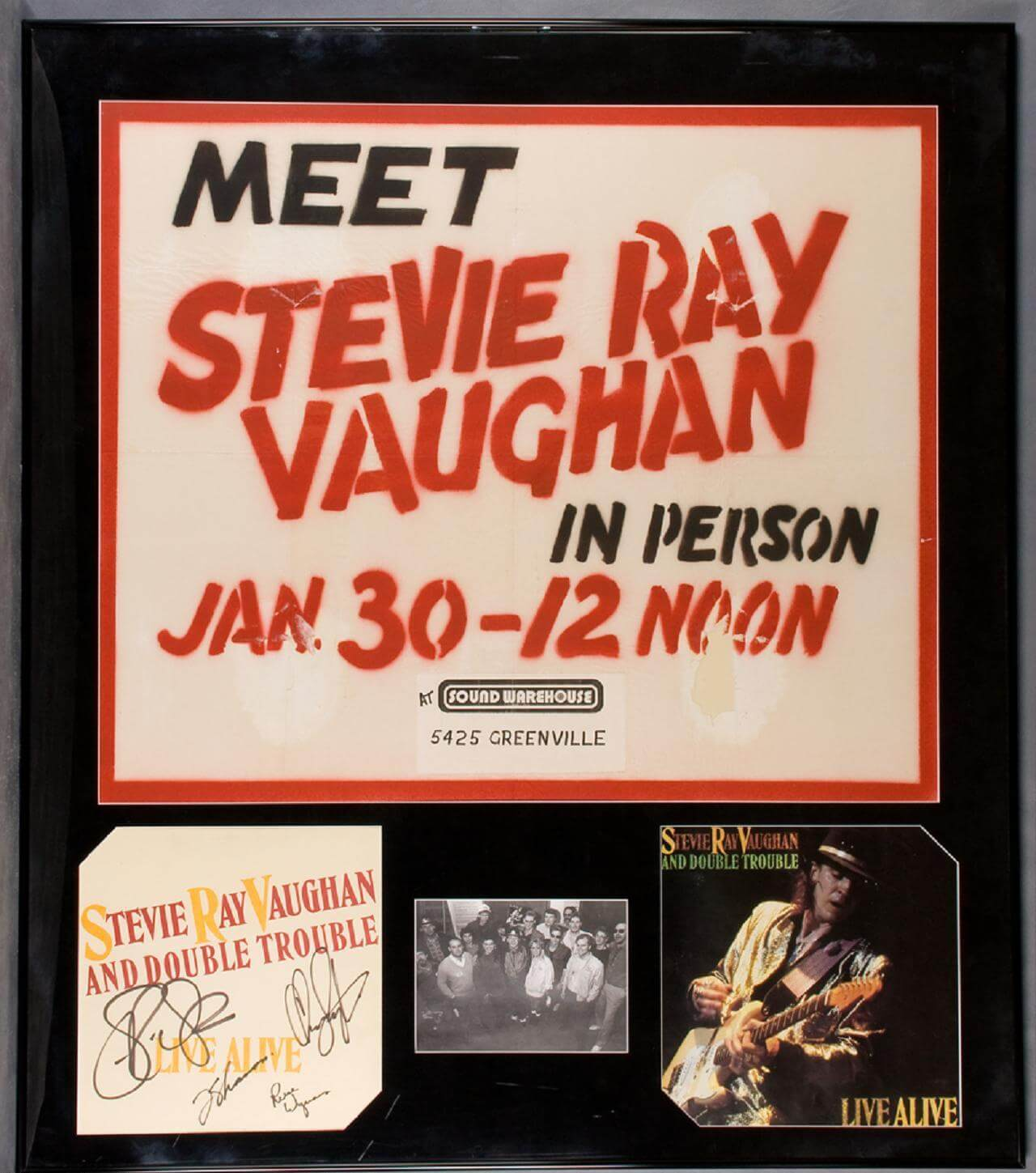 Steve Ray Vaughan Signed Photo Display - COA PSA/DNA