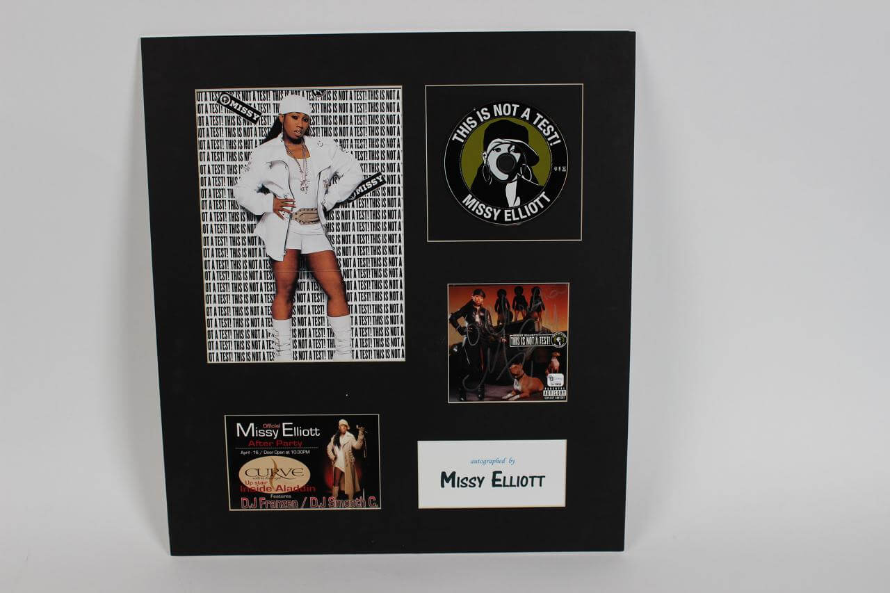 Missy Elliott Signed This Is Not A Test CD Cover 16x18 Display - COA GAI