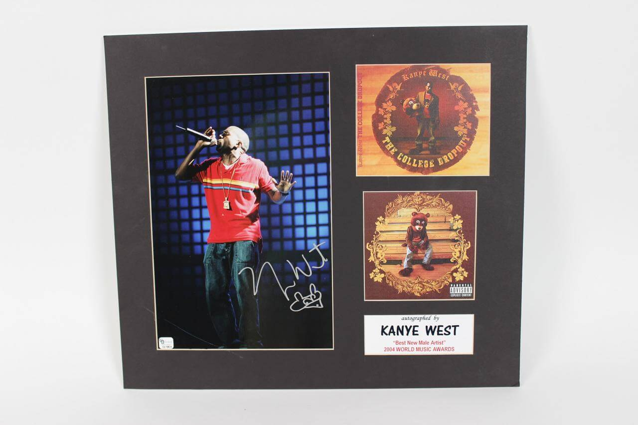 Kanye West Signed & Inscribed 11x14 2004 World Music Awards Display (GAI COA)