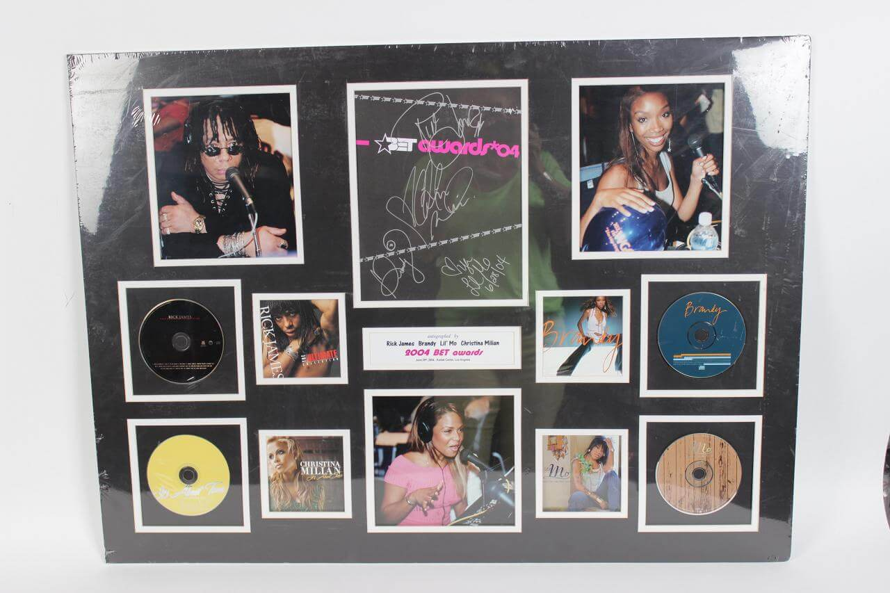 Rick James,Brandy, Christina Milian Signed 2004 BET Awards Display (GAI COA)