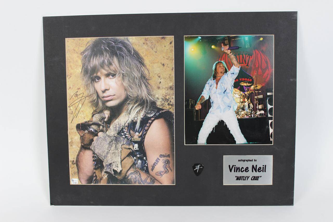 Motley Crue - Vince Neil Signed Matted Photo 17x22 Display - COA GAI