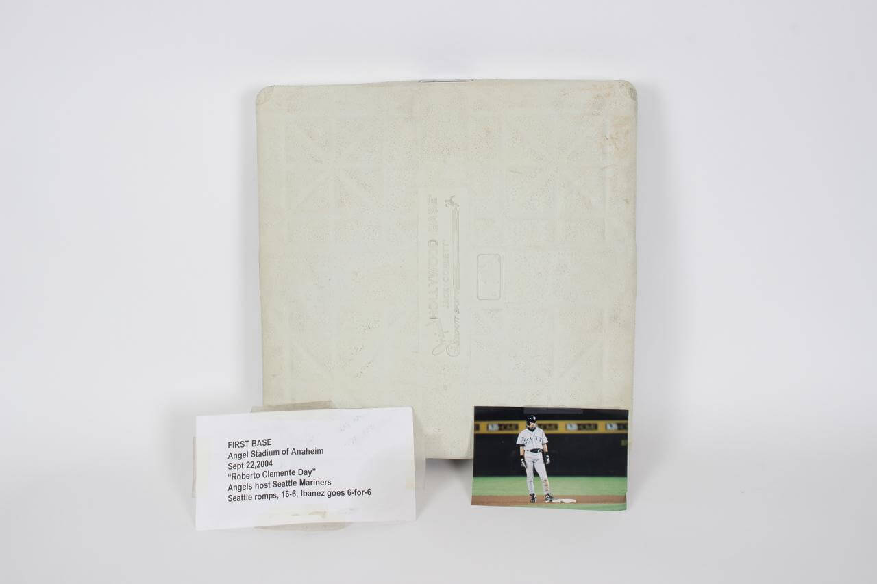 "Sept.22, 2004 Pittsburgh Pirates - Game-Used First Base From Anahiem  On ""Roberto Clemente Day"" Honoring The Life Of # 21"