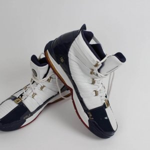 First EVER Play-Offs!! 2006 Cleveland Cavaliers - LeBron James Game-Worn Shoes from April 28th Playoff Game vs. Wizards (First Road Playoff Victory, 41 Points! Sample Shoes Tagging)