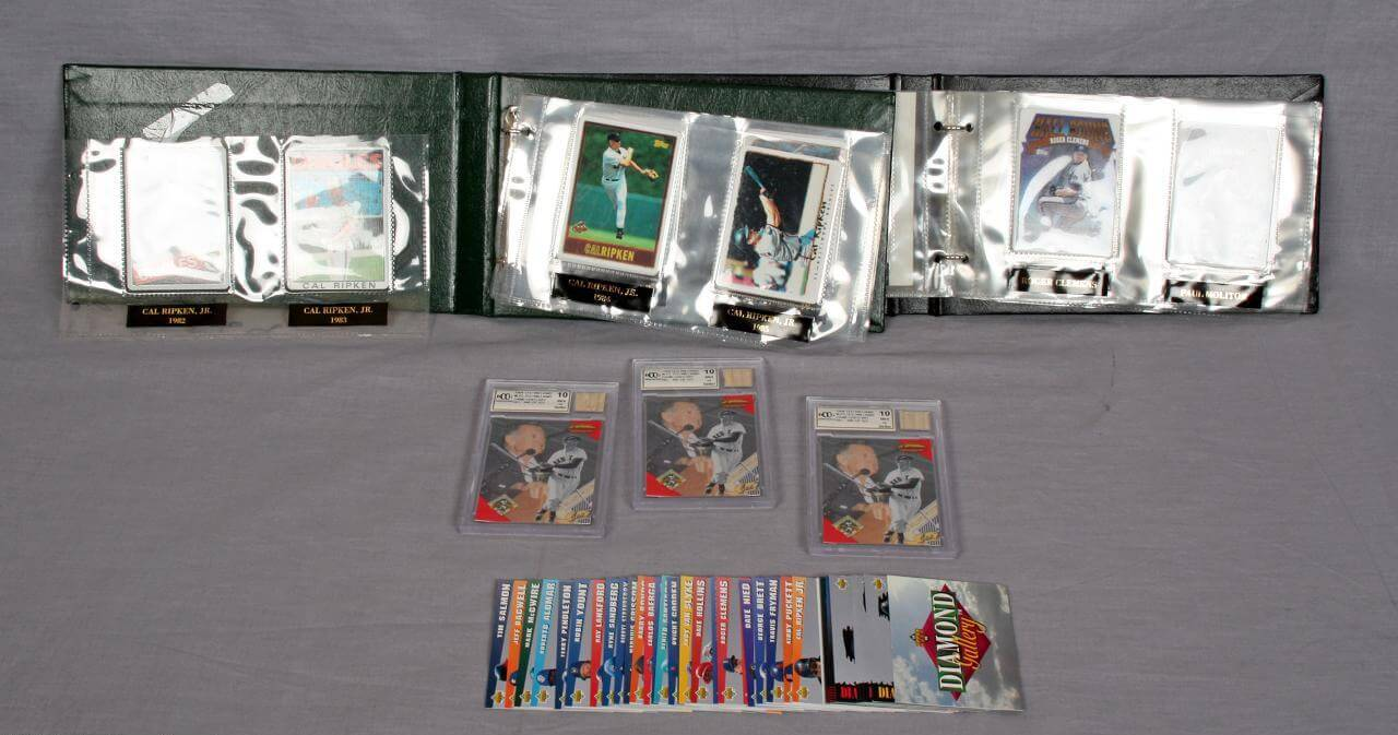 Modern Sports Card Lot - Featuring Danbury Mint Porcelain Cal Ripken Set, Ted Williams Game Bat Cards etc.