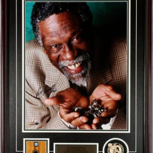 William Bill Russell Signed 16x20 Full Color Display with Boston Garden Floor Marquet (tile) Bonus Players Letter signed By Bill Russell  COA & Hologram