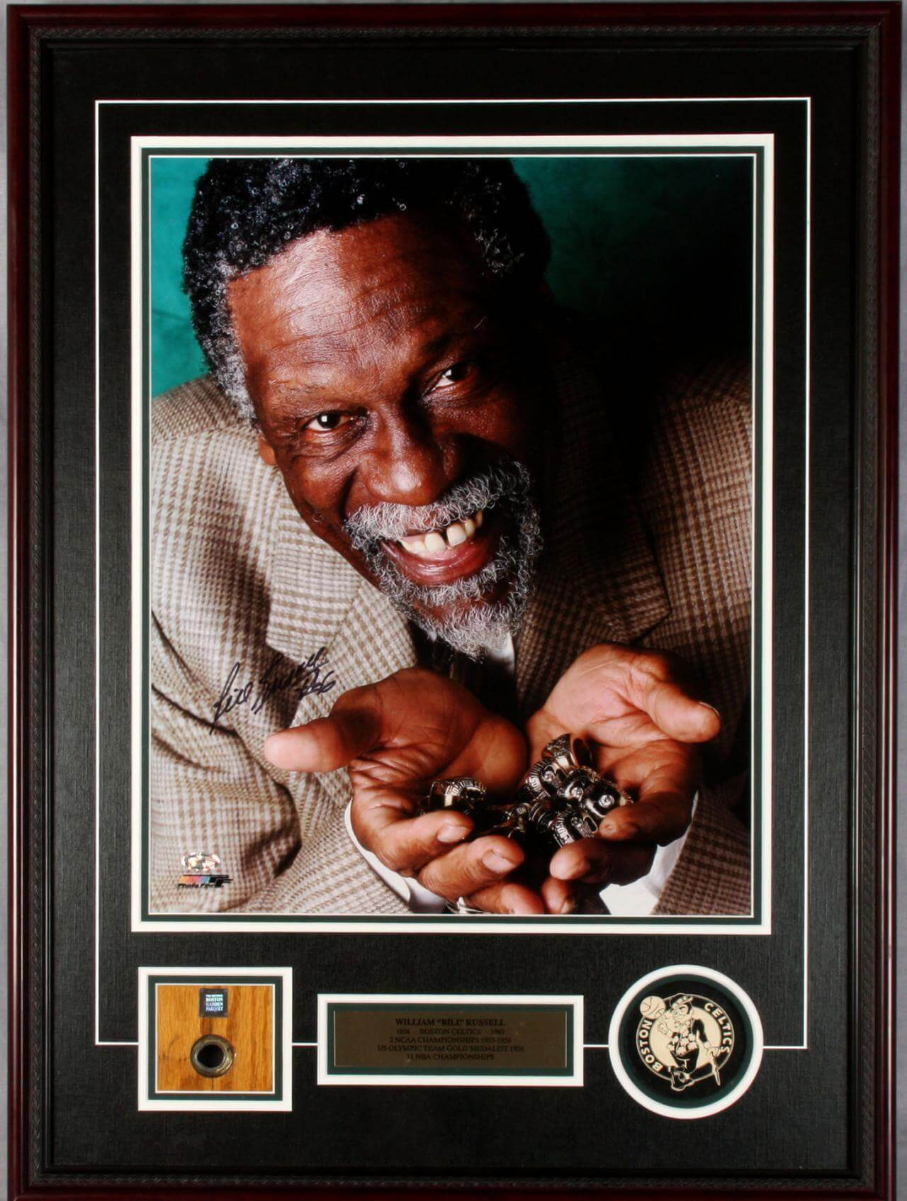 William Bill Russell Signed 16×20 Full Color Display with Boston Garden Floor Marquet (tile) Bonus Players Letter signed By Bill Russell  COA & Hologram