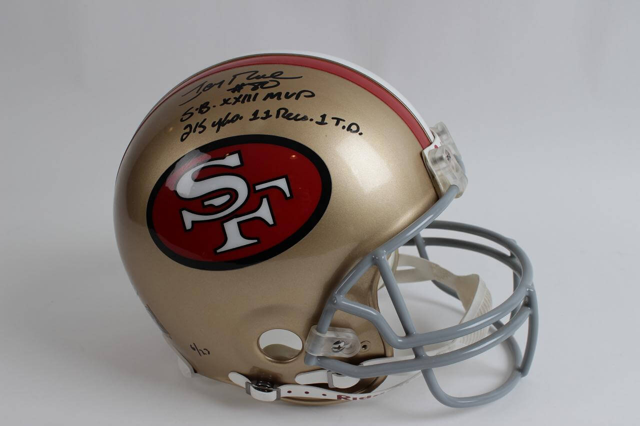 49ers - Jerry Rice Signed Inscribed Full Size Authentic Helmet-COA Rice Hologram