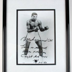 """Muhammad Ali Full Name Signed Vintage Inscribed with Fun Notation with Heart & Dated """"9-5-88"""" 8x10 B&W Photo Display (JSA Full LOA) - """"Love is the net Where Hearts are Caught like FISH."""""""