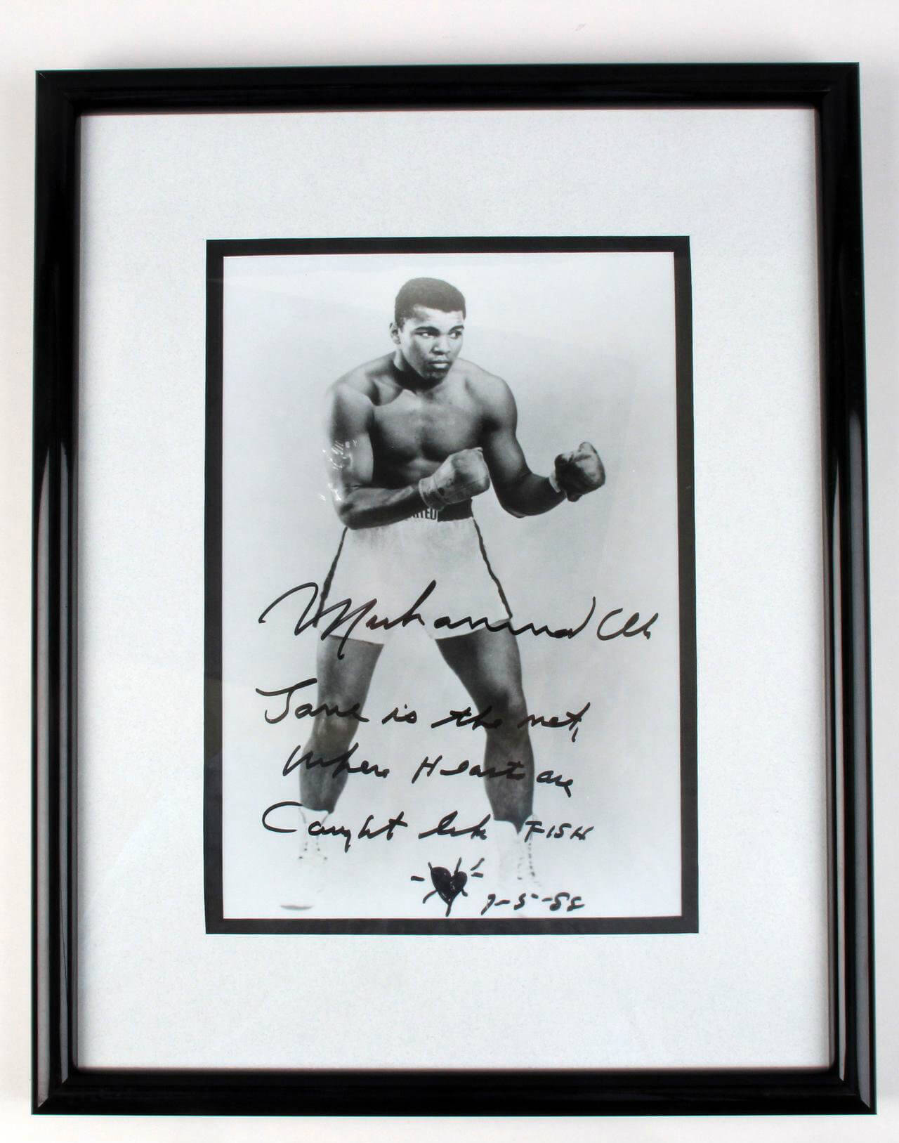 "Muhammad Ali Full Name Signed Vintage Inscribed with Fun Notation with Heart & Dated ""9-5-88"" 8x10 B&W Photo Display (JSA Full LOA) - ""Love is the net Where Hearts are Caught like FISH."""