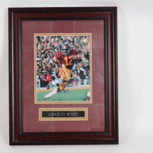 Chales White USC  Signed & Inscribed (75 Hesman #12 USC ) Photo Display COA 100% Authentic