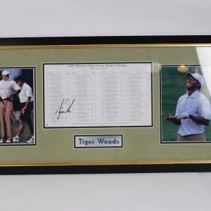 Tiger Woods Signed 2001 Phoenix Open Second Round Pairings Photo Display (GAI)