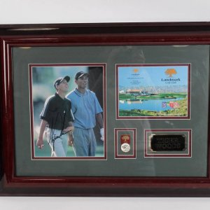 TIGER WOODS Signed Landmark Golf Club Skin Game Pins & Photo Display COA  PSA Label