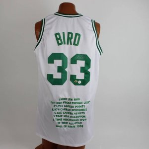 Boston Celtics Larry Bird Signed White Commemorative Jersey Players Hologram 16/33