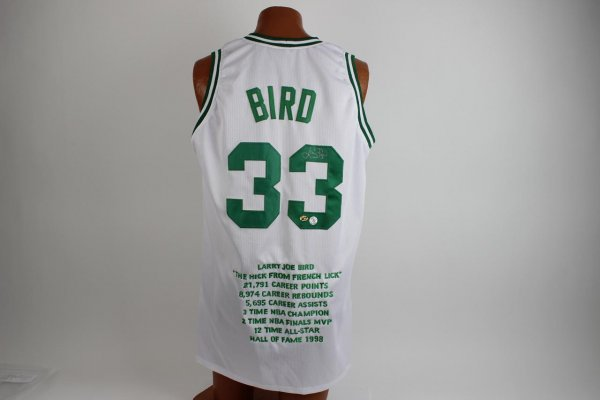 Boston Celtics Larry Bird Signed White Commemorative Jersey Players Hologram 16/33
