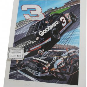 NASCAR - Dale Earnhardt, Sr. Signed  23x30 Lithograph (LE by Sam Bass)- JSA