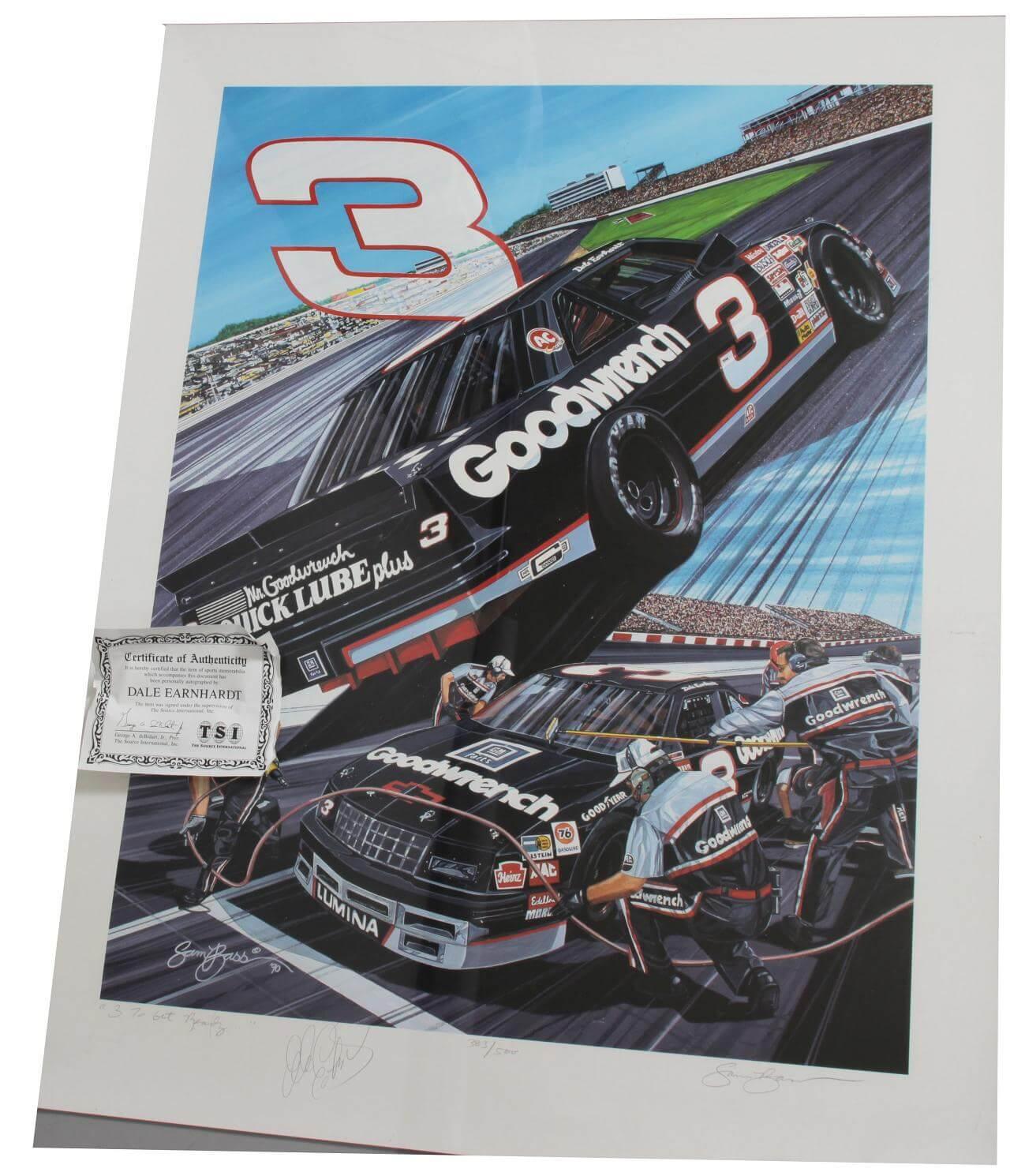 NASCAR - Dale Earnhardt, Sr. Signed  23x30 Lithograph (LE by Sam Bass)- JSA