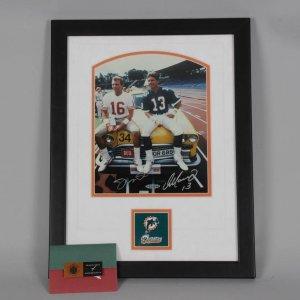 Joe Montana & Dan Marino Signed Super Bowl  8x10 Taxi Photo Display (UDA COA)