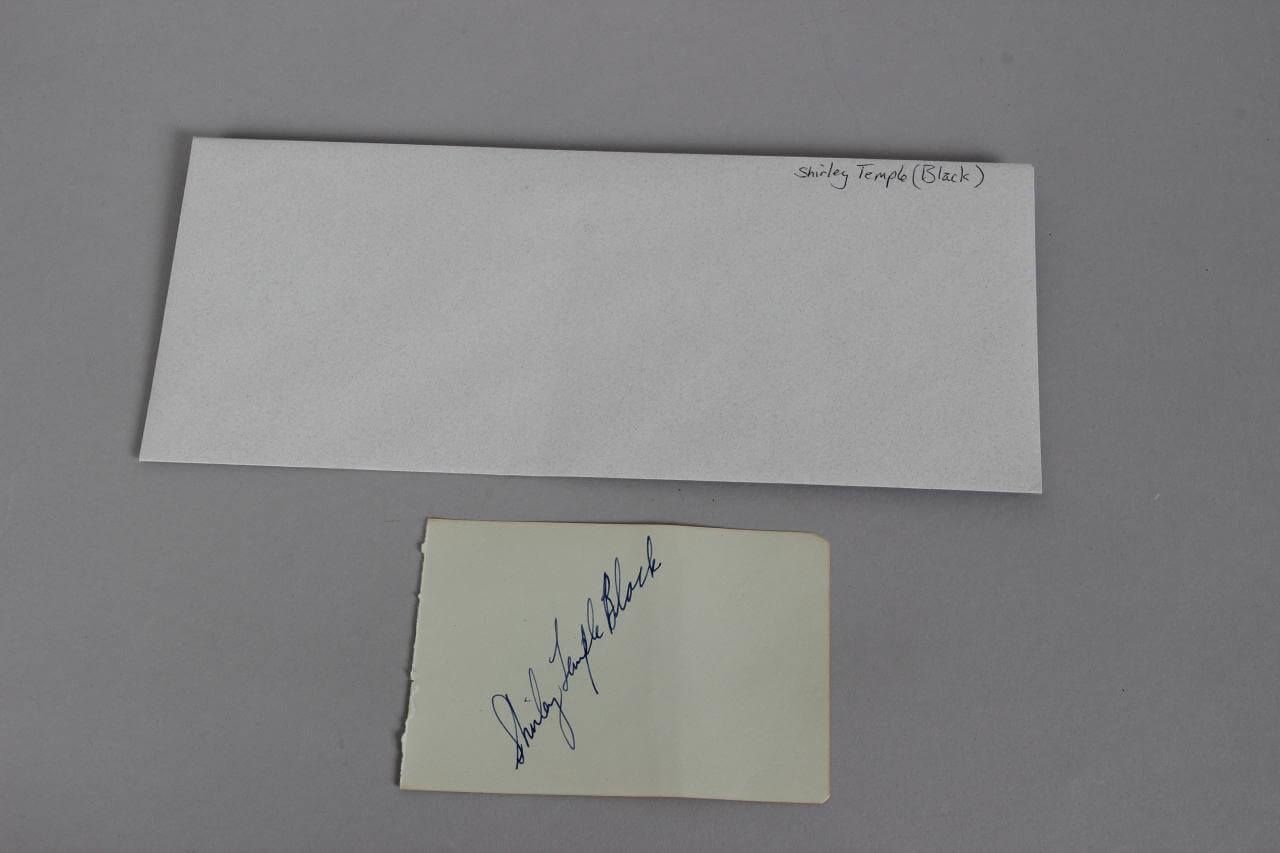 Actress – Shirley Temple Black Signed Parchment (Moseley Collection – Incl. Notarized Letter)