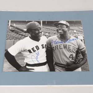 HOFers Jim Rice & Hank Aaron Signed 8x10 July 29 1975 News Photo - JSA