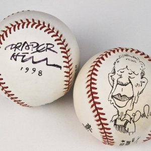Political Cartoonists Signed Baseball Lot - Draper Hill and Dave Cougrly Feat. President Jimmy Carter Portraits