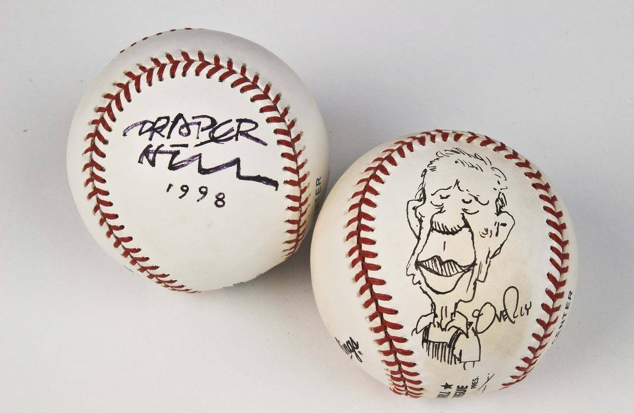 Political Cartoonists Signed Baseball Lot - Draper Hill and Dave Cougrly (COA)