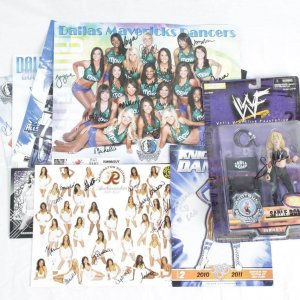 Mix Lot - NBA / NFL Cheerleader Signed Photos & WWE / WWF Sable Signed Action Figure