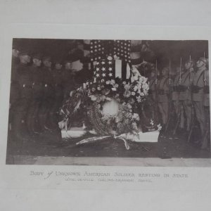 1921 WWI Unknown Soldier Transfer 15x18 (5) Photo Card Lot Collection