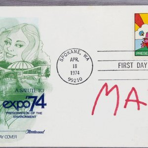 Peter Max Signed FDC Expo 74 Spokane WA. Apr 18 1974 - COA