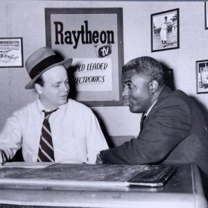Jackie Robinson & Announcer Ray Scott Teenie Harris 11x14 Photo