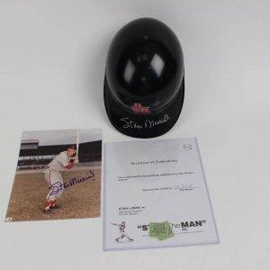 Stan Musial Signed Authentic Diamond Collection  Batting Helment  & 8x10 Color Photo Signature Grades 9-10 (Stan The Man Inc COA)